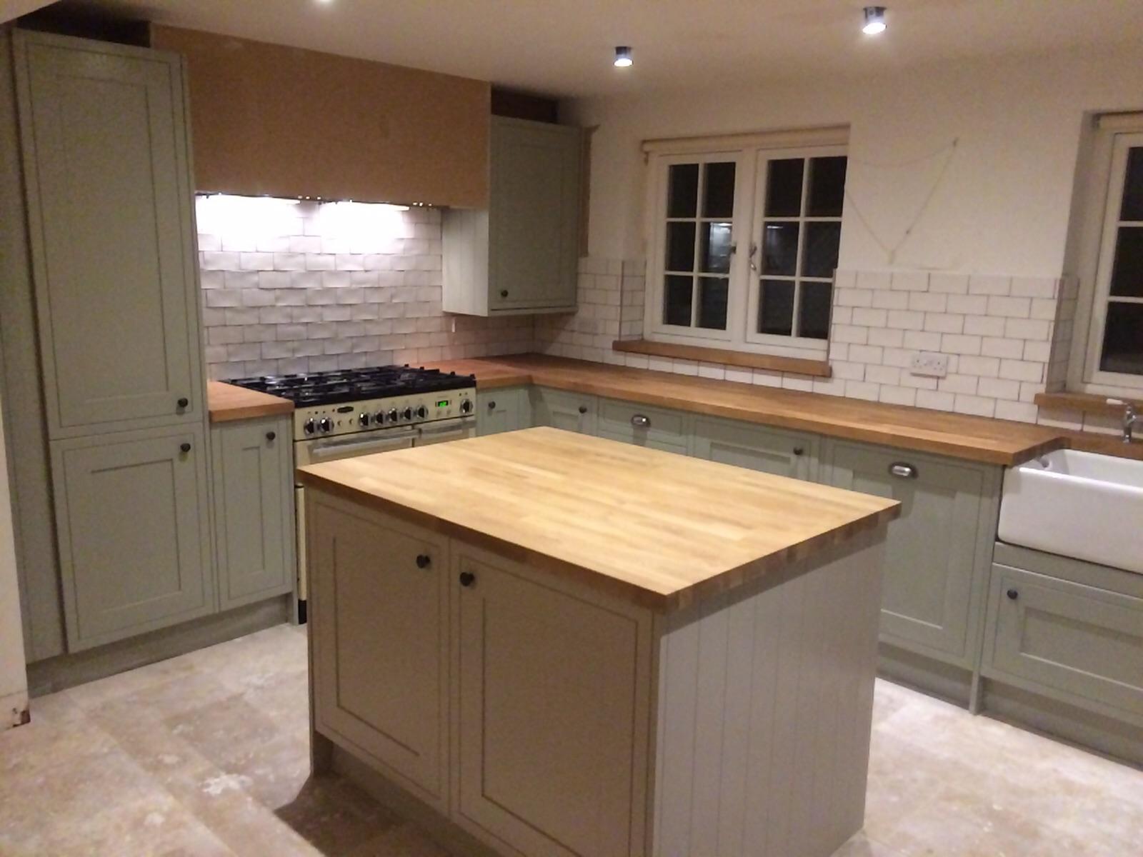Installing kitchen island on tile floor